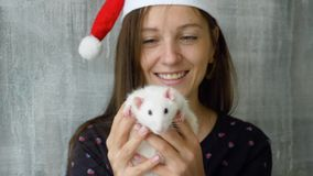 Woman in Christmas cap shows white rat to the camera. Close-up of young caucasian woman in red Christmas cap shows hold white rat and shows it to camera stock video footage