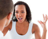 Close-up of a Young couple having an argument. In the bedroom royalty free stock images