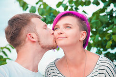 Close up of a young couple kissing Royalty Free Stock Photography