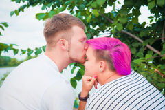 Close up of a young couple kissing Stock Photography