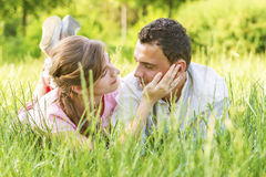 Close-up of a young couple in love Royalty Free Stock Photo