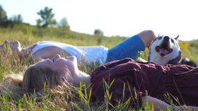 Close up of young couple in love lying on green grass at field with their siberian husky dog and relaxing at sunny day stock footage