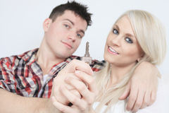 Close-up of a young couple receiving their new car Royalty Free Stock Photos