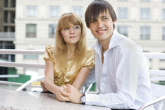 Close-up of a young couple sitting in cafe Stock Image