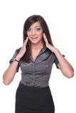 Close up of young emotional business woman Stock Photos