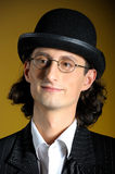 Close up young english gentleman in bowler hat Stock Image