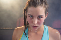 Close-up of young female boxer royalty free stock image