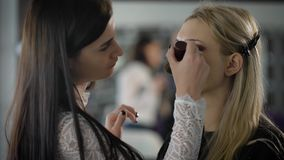 Close up of young female photomodel during make-up process at beauty shop. Professional visagiste is applying eyeshadow stock video