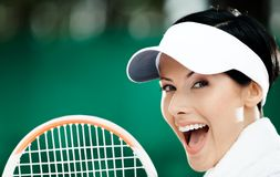 Close up of young female tennis player Stock Photography