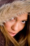 Close up of young female wearing winter coat Royalty Free Stock Photo