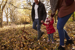 Close Up Of Young Girl On Autumn Walk With Parents Royalty Free Stock Photos