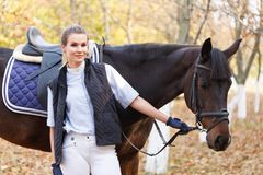 Close-up of a young girl with a horse royalty free stock photography