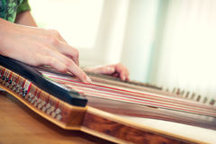 Close up of young girl's hand playing on zither Stock Photo