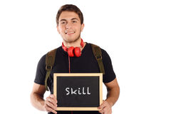 Man holding chalkboard with Stock Image