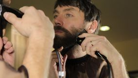 Close-up Young Handsome man trimming beard with scissors. Young man in beauty saloon working on his beard and styling stock video