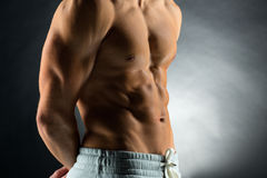 Close up of young male bodybuilder Royalty Free Stock Images