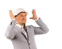 Close up Young Male Engineer Imagining Design Stock Photo
