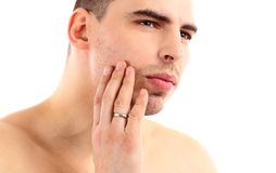 Close-up of young man applying shaving cream Royalty Free Stock Photos