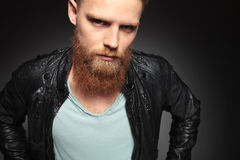 Close up of young man with beard Stock Images