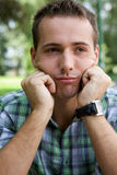 Close-up of young man contemplating Royalty Free Stock Photography