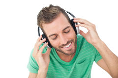 Close-up of a young man enjoying music Royalty Free Stock Photos