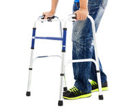 Close up of young man on mobility aids. With white background royalty free stock photography