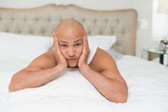 Close up of a young man resting in bed Royalty Free Stock Photography