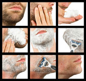 Close-up of a young man shaving, compilation Royalty Free Stock Photo