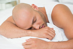Close up of a young man sleeping in bed Stock Photos