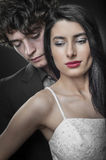 Close up of a fresh couple on their wedding night. Close up of a young maried couple on their wedding night Stock Photos