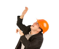 Close up Young Middle Age Engineer Looking Up Stock Images
