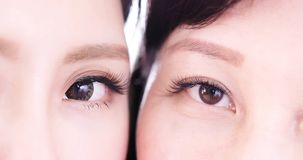 Close up of woman eye. Close up of young and middle aged women eye royalty free stock photos