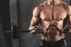 Close up of young muscular man lifting weights. Over dark background Royalty Free Stock Photos
