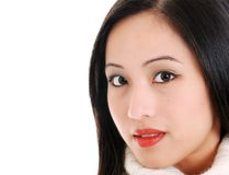 Close up young oriental woman on white Stock Image