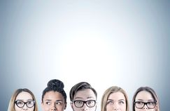 Close up of young people s heads, gray Royalty Free Stock Image