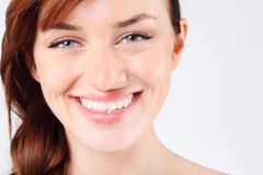 Close-up of young and pretty caucasian woman. Royalty Free Stock Photography