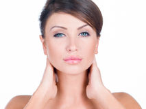 Close up Young Pretty Woman Both Hands on Neck Royalty Free Stock Photography