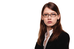 Close-up of a young pretty woman / student with glasses Royalty Free Stock Photos