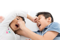Close up Young sister playfully took his brother Royalty Free Stock Photography