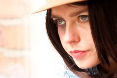 Close up of young stylish woman staring Royalty Free Stock Image