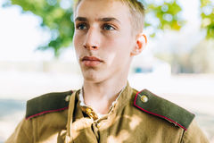 Close up of young unidentified re-enactor dressed Royalty Free Stock Photography