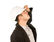 Close up Young White Engineer Looking Up Stock Image