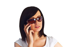 Close up of young woman. Close up of young  woman talking on mobile phone Royalty Free Stock Photo