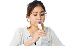 Close up Young woman and champagne Stock Photos