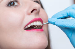 Close-up of young woman at dental visit Stock Photos