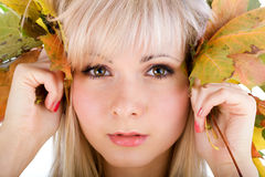 Close-up of young woman face royalty free stock image