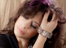 Close Up of Young Woman in Fancy Makeup Royalty Free Stock Image