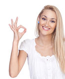 Close-up of a young woman gesturing Stock Photos
