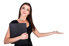 Close-up of a young woman gesturing - Stock Image Stock Photography