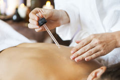 Close up of a young woman getting spa treatment Royalty Free Stock Photography